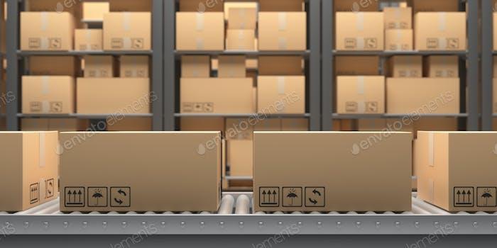 Conveyor belt. Handling and distribution concept. 3d illustration