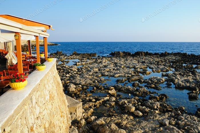 Tavern near sea at morning, Crete, Greece