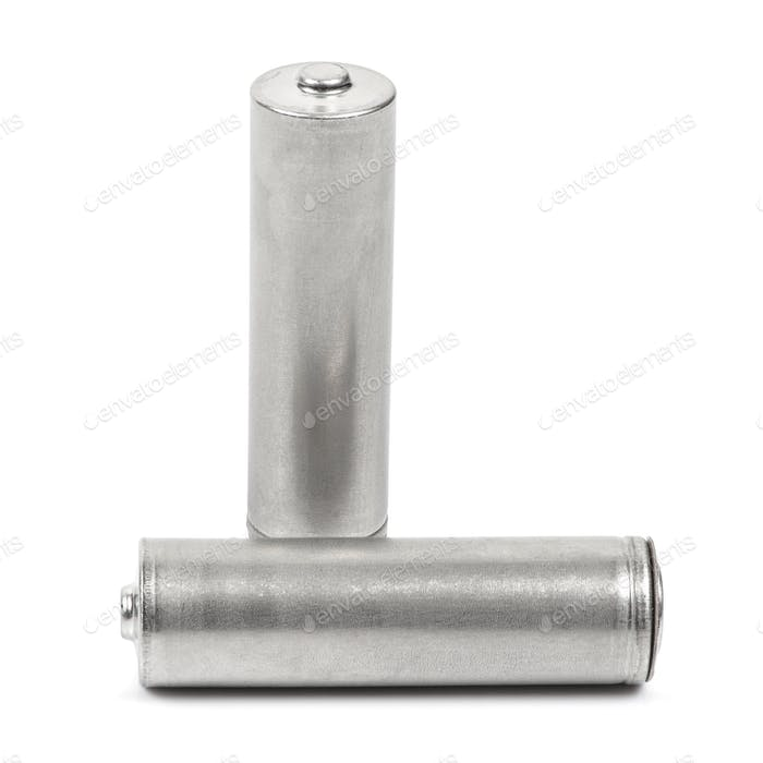 Two AA size batteries on white background