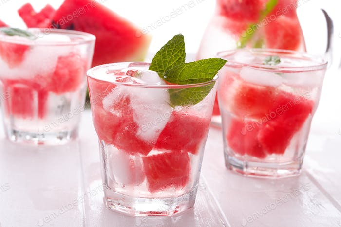 Refreshing water with watermelon