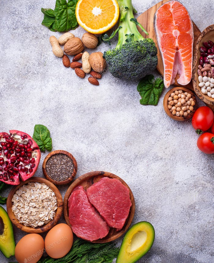 Meat, fish, legumes, nuts and vegetables