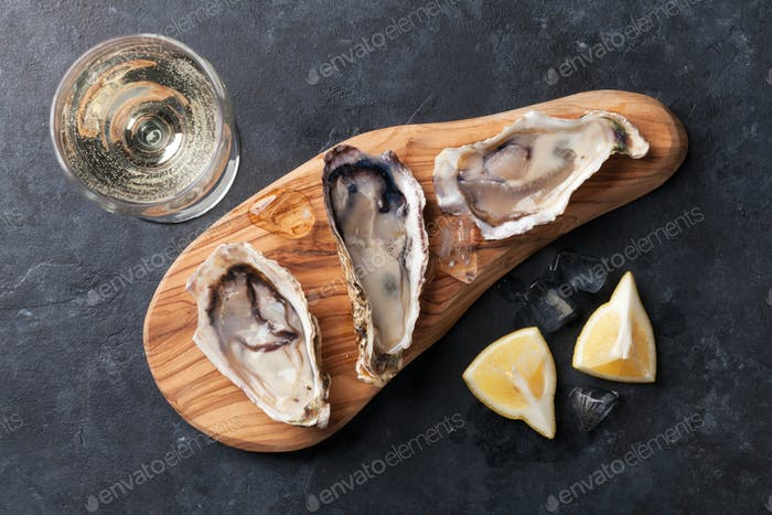 Oysters and wine