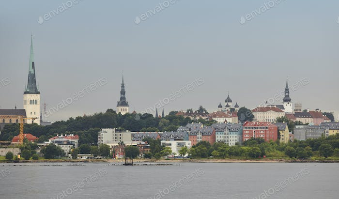 Tallinn old town cityscape panoramic view. Tourism landmark. Estonia. Europe