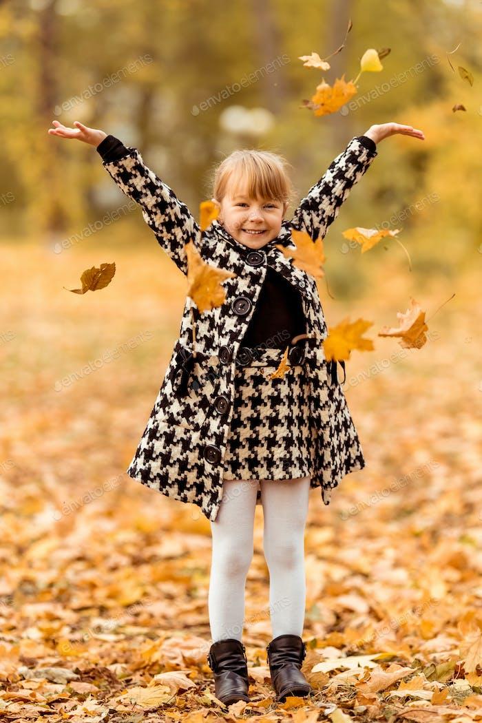 Girl autumn walk
