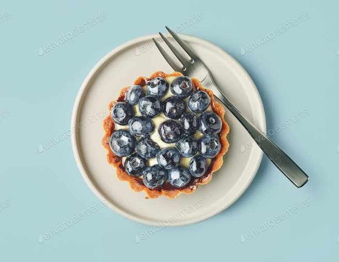 blueberry tart on light blue background
