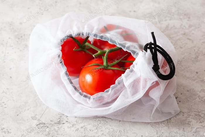 tomatoes in reusable mesh nylon bag, plastic free zero waste con