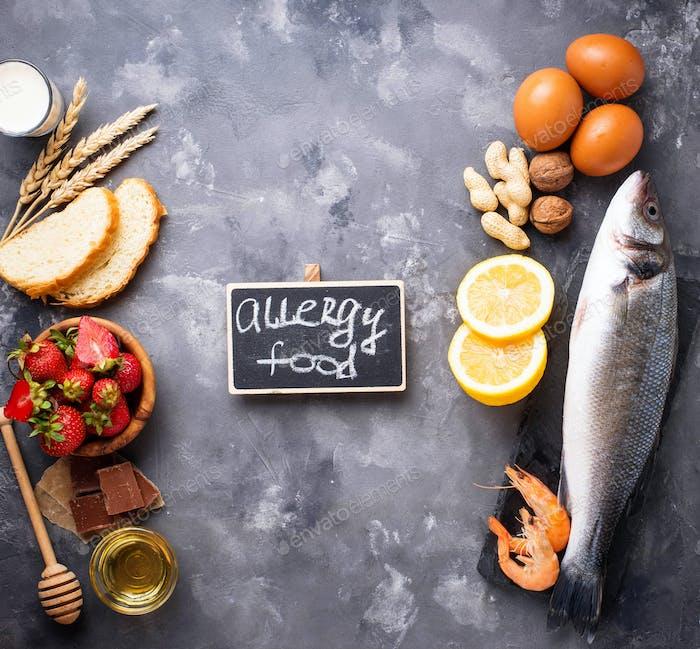 Allergie-Lebensmittelkonzept Verschiedene allergische Produkte