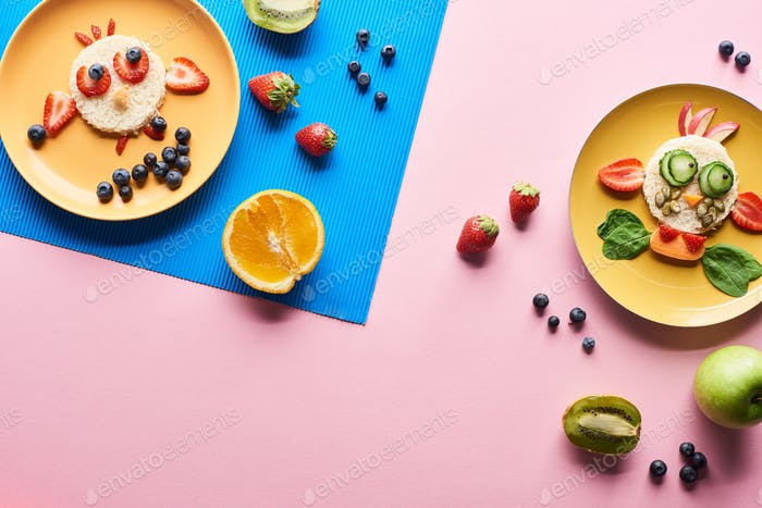 Top View of Plates With Fancy Animals Made of Food on Blue And Pink Background With Fruits