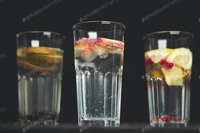 Variety of  Detox infused water. Diet. Healthy drink.