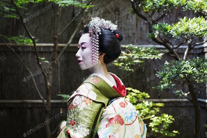 Geisha in costume outdoors