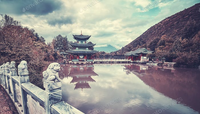 Vintage toned picture of Jade Spring Park, Lijiang, China