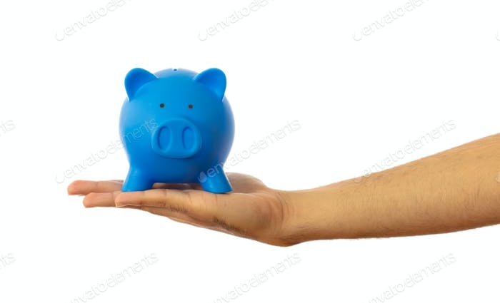 Piggy bank on a hand palm isolated on white background, clipping path