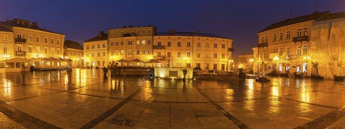 Rain on Market Square in Piotrkow Trybunalski