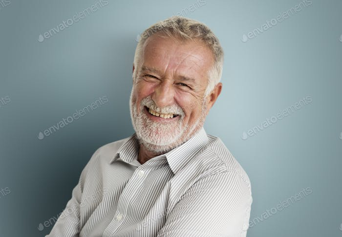 Elderly Man Smiling Face Expression Concept