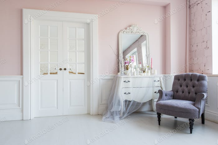 Thumbnail for Classical armchair and mirror table at living room interior