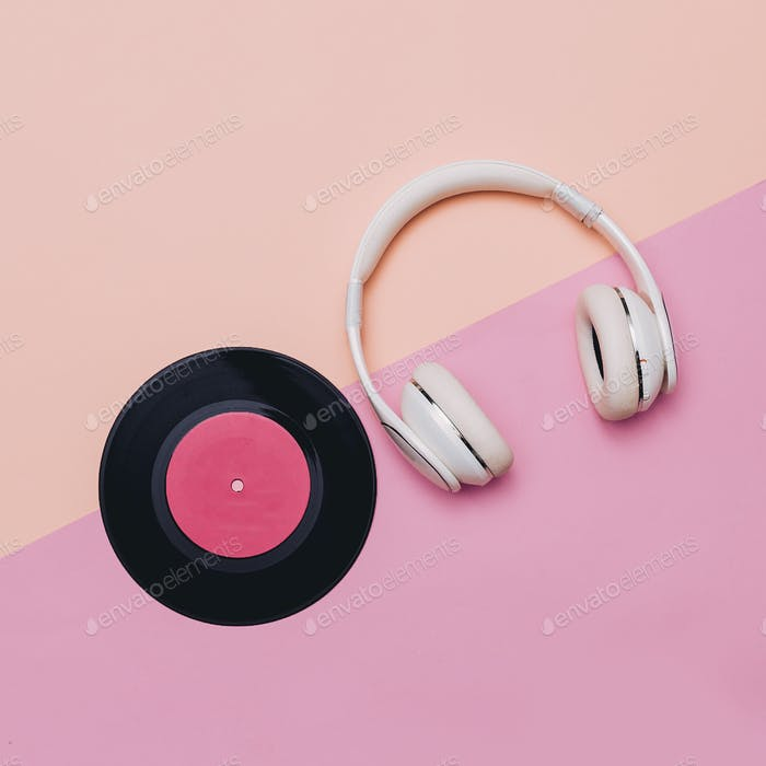 Minimal creative art. Musical retro vibrations. Headphones and v