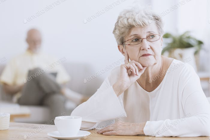 Irritated elder woman