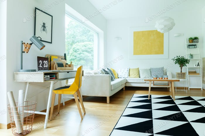 Open workspace in living room