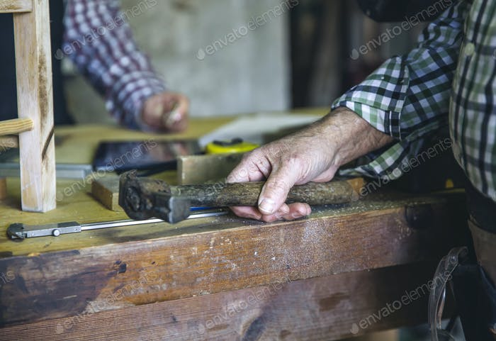 Carpenter's hand holding a hammer