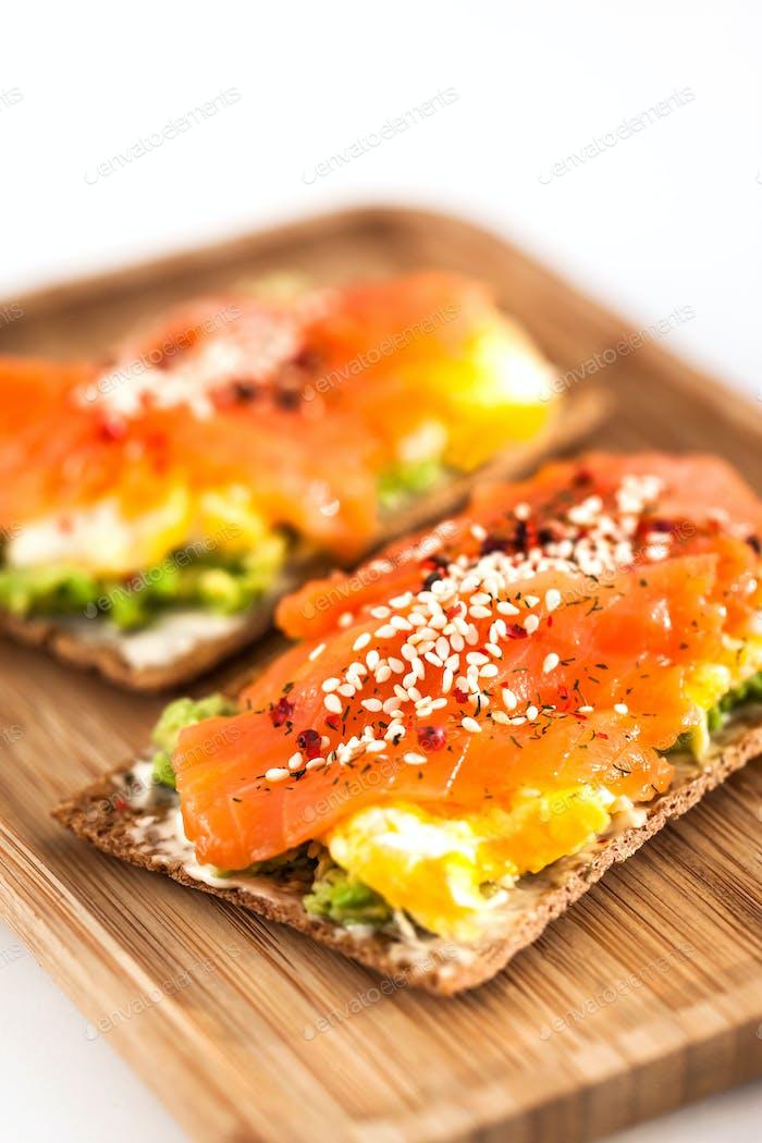 Salmon, eggs and avocado toast