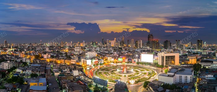 Panorama of Bangkok cityscape at Wongwian Ya roundabout at twilight time, Bangkok,