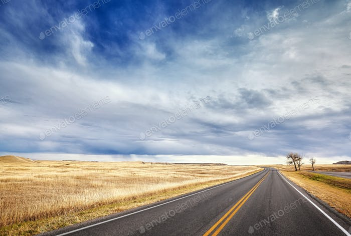 Autumn country highway landscape, travel concept.