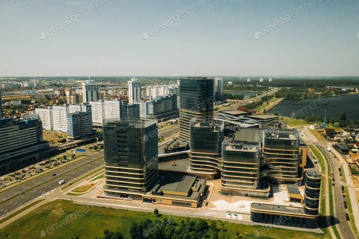 View from the height of Pobediteley Avenue in Minsk.New residential and business district in Minsk