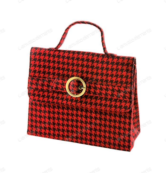 Red houndstooth checker handbag