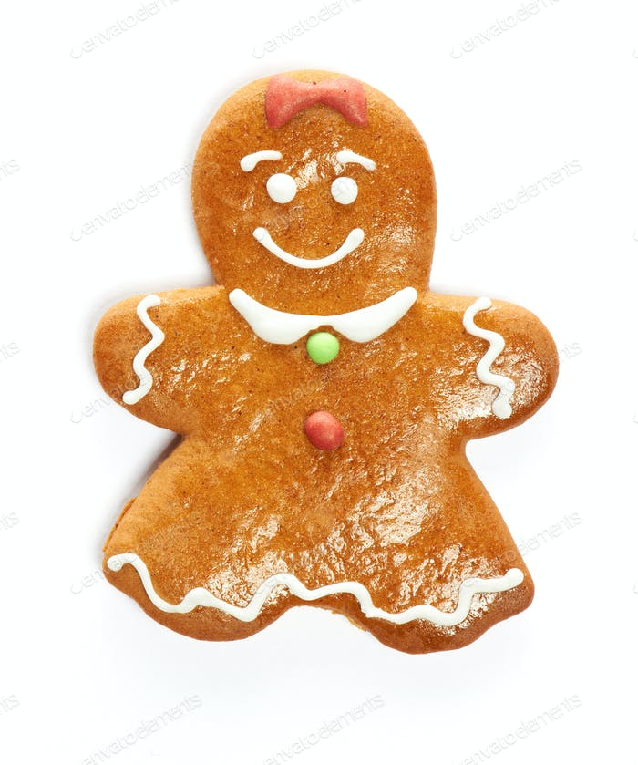 Christmas gingerbread girl cookie