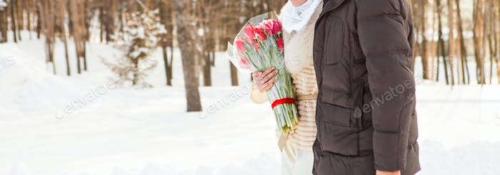 Just married muslim couple in winter nature