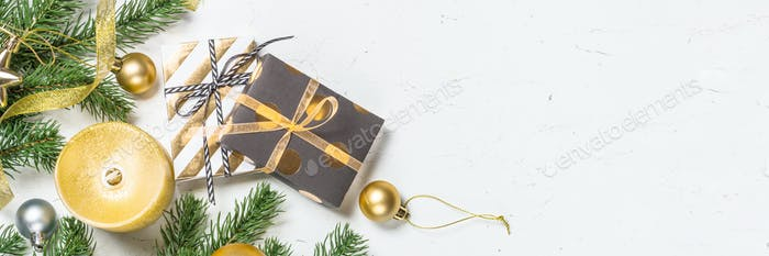 Christmas background with Gold present box and decorations