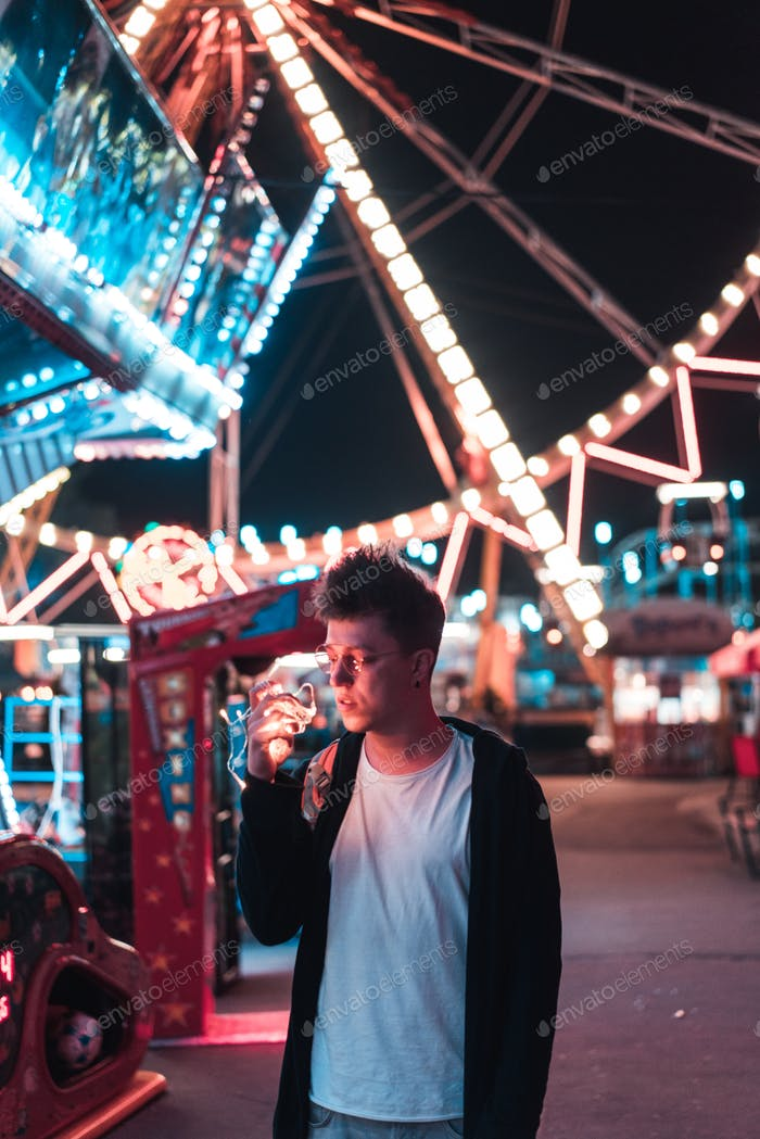 Guy in the amusement park