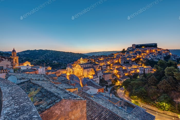Ragusa Ibla in Sicily just before sunrise