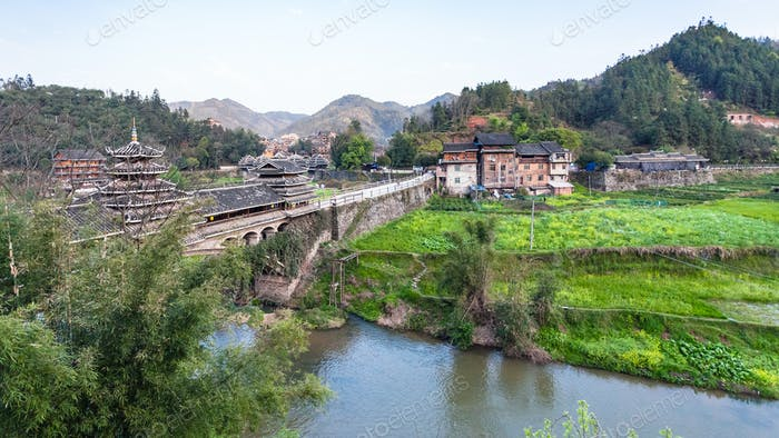 Bridge and gardens near river in Chengyang