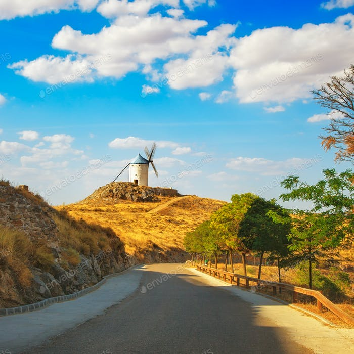Windmill of Don Quixote and road in Consuegra. Castile La Mancha