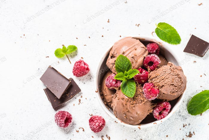 Chocolate ice cream with raspberries