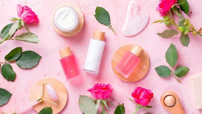 Plastic free composition with beauty products and beauty accessories on pink