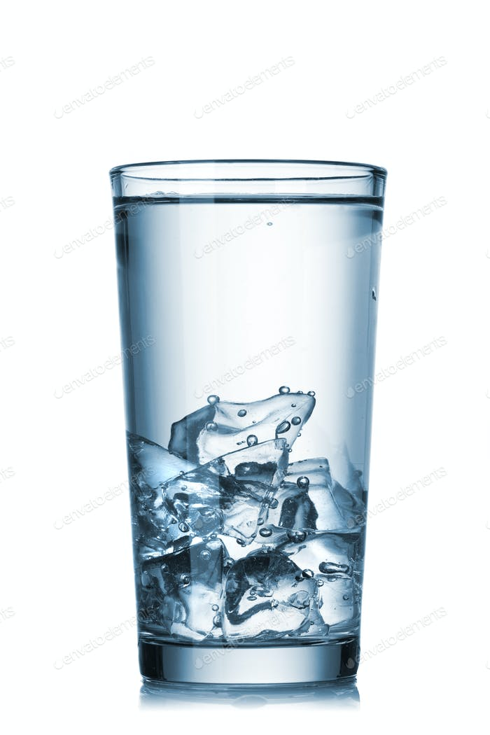 water with ice in glass isolated on white
