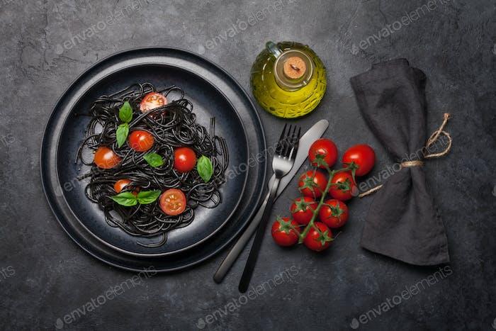 Schwarze Meeresfrüchte Spaghetti Pasta