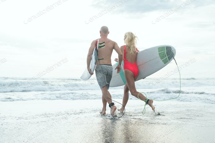Active surfers outdoors