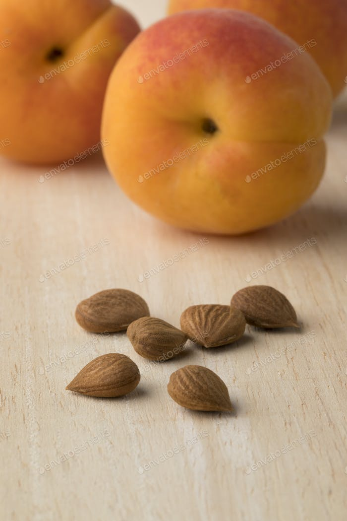 Dried apricot stones and fresh apricots in the background