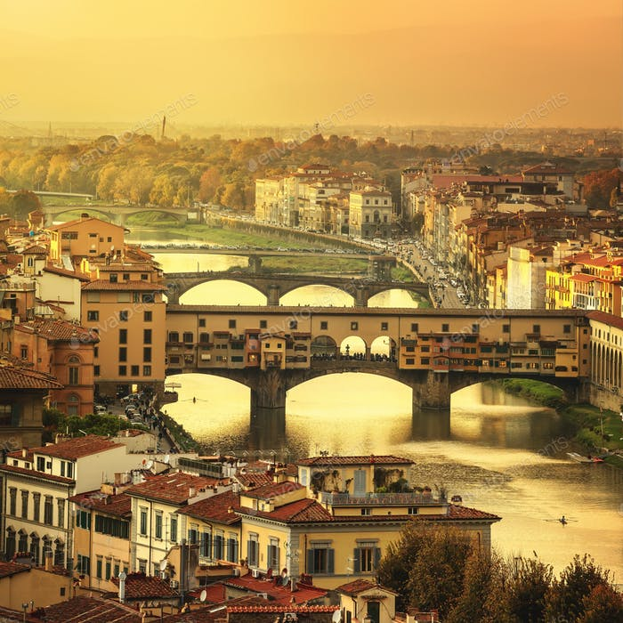 Florence or Firenze sunset Ponte Vecchio bridge panoramic view.T