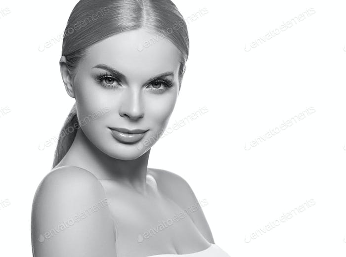 Healthy skin female girl blonde hair portrait color background. Monochrome. Gray. Black and white.