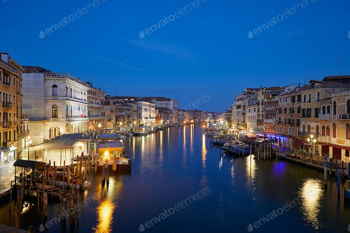 Grand Canal in Venice, illuminated at dawn in Italy