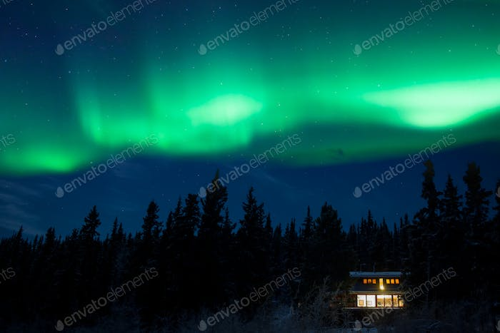 Taiga home under Northern Lights Aurora borealis