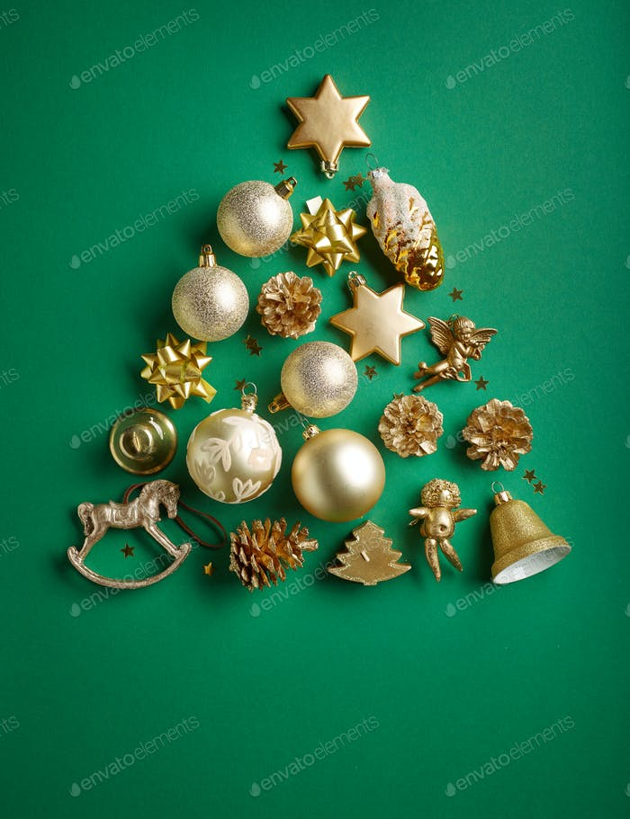 Gold color Christmas decorations
