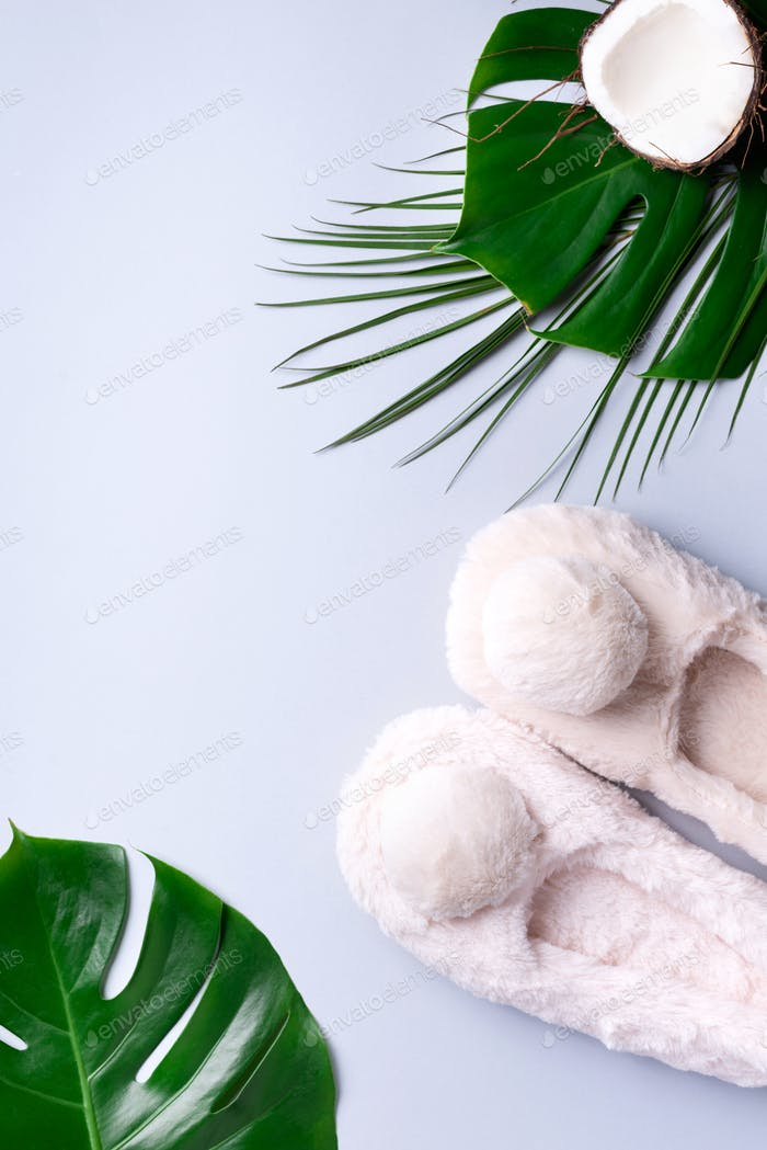 Grey fluffy home slippers with pompon, tropical palm and monstera leaves on pastel grey background
