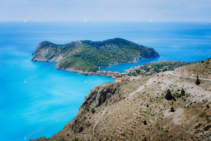 View of Assos village and beautiful blue sea bay, Kefalonia island, Greece