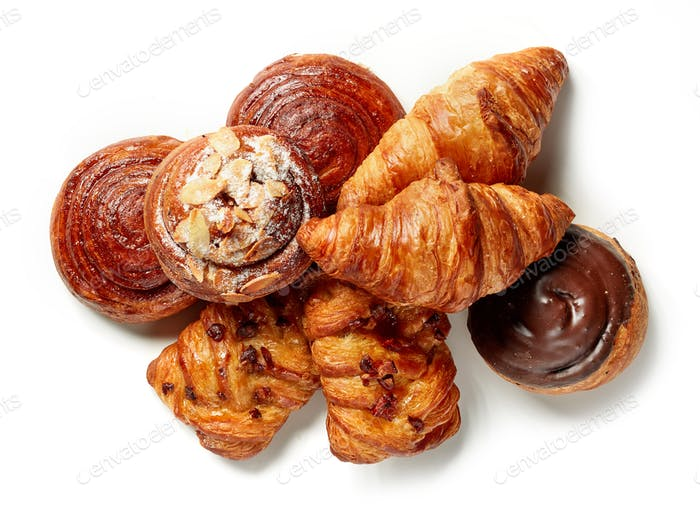 various freshly baked pastries