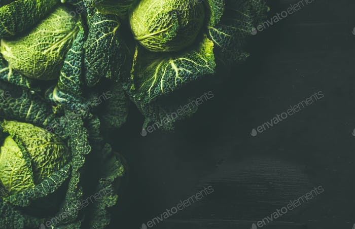 Raw fresh uncooked green cabbage over dark background, copy space